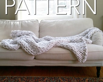 "SALE! The BIG Arm Knit Blanket Pattern // Beginner's Pattern // Chunky Blanket // Simply Maggie // 90"" by 72"""