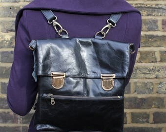 Amelie Black Leather Convertible Backpack to bag and back to Backpack with Clips and Zips