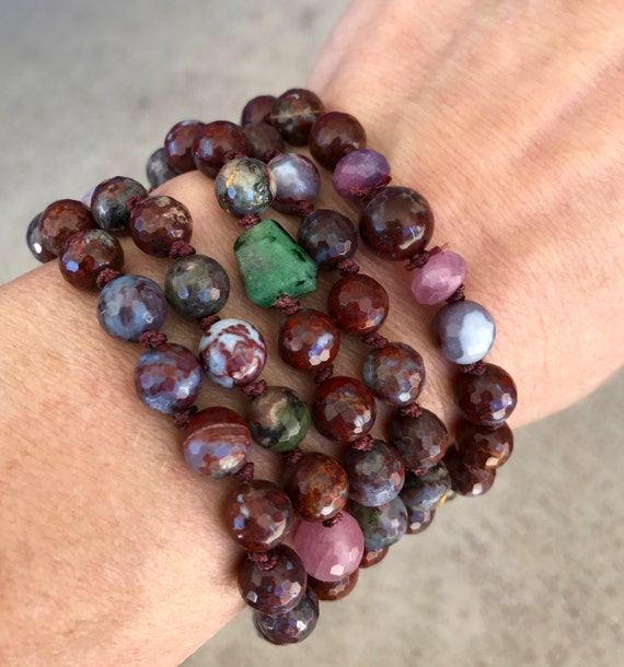 108 Faceted Red Lightning Agate Mala Beads, Raw Ruby, Ruby Zoisite, Sterling Silver, Wrist Mala Bracelet,  Root Chakra Yoga Jewelry