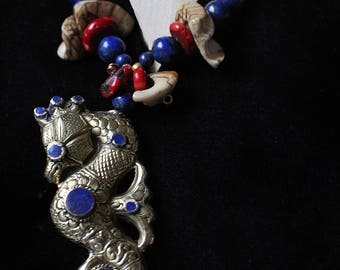 Handmade Repoussé Solid Brass Double Sided Seahorse with 16 Lapis Cabochons: Hanging from Sacred Conch Shell, Genuine Coral & Afghani Lapis