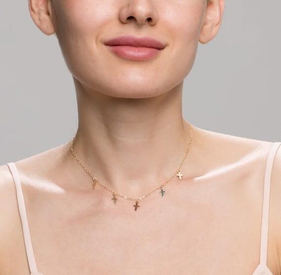 Cross Choker Necklace // Simple Cross Necklace // Dainty necklace