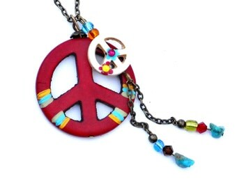 Painted Peace Sign Necklace Turquoise Nuggets Bohemian Jewelry FREE SHIPPING