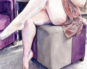 "Signed Giclée Art Print by Vanessa Walsh, ""Stockings"", Erotic Art Print, Foot Fetish Art, Black and White Art, Kink Art Print."