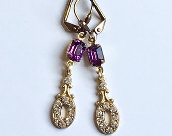 Vintage Art Deco with Amethyst and Swarovski Crystals Victorian Wedding Earring Vintage Art Deco Glam