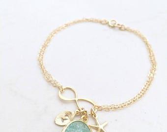 aquamarine Infinity Bracelet Erinite bracelet starfish leaf Initial aquamarine Jewelry Handstamped Initial Bridesmaid Sets Beach Weddings