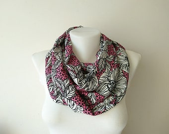 Pink Floral Infinity Scarf, Black White Scarf, Soft Lightweight, Loop Scarf, Circle Scarf, Women Accessories, Spring Summer Fashion,For Her
