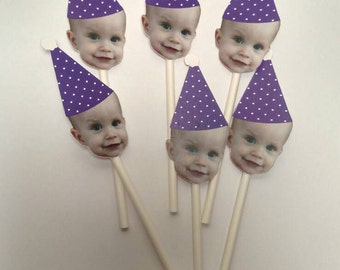 Purple Birthday Hat Custom Face Cupcake Toppers (12 count)
