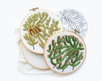 Out of Retirement! - January Flowering Cactus Contemporary Embroidery Pattern PDF by Sarah K. Benning