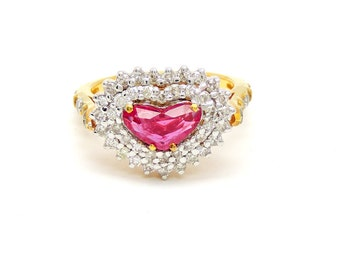 Diamond Ruby Heart Ring