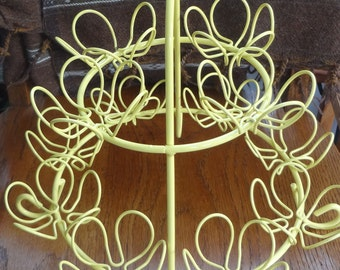 Yellow, Two Tier, 12 Holder,  Wire CUPCAKE Serving STAND