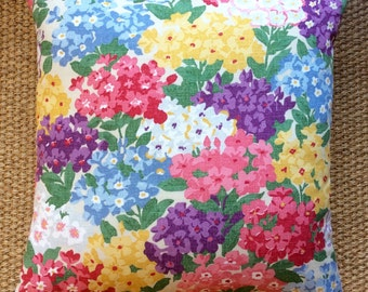 "Vintage Sanderson ""Cottage Garden"" Floral Cushion With Interior 40cm x 40cm"