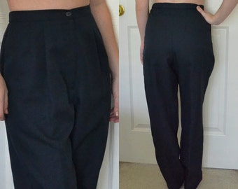 Navy Retro High Waisted Trousers / Size 4P