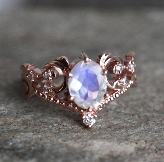 Rose  Band Moonstone Ring