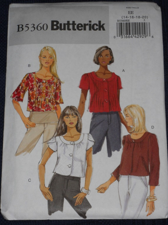 Butterick 5360 - Semi-fitted Jacket, Sizes 14-20, factory-folded sewing pattern, OOP