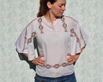 Embroidered blouse, floral blouse, floral embroidered blouse, vintage white blouse, vintage embroidered blouse