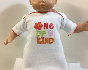 "15 inch Bitty Baby Clothes, ""One of a KIND"" Nightgown, 15 inch Bitty Baby or Twin, also Fits 16"" Cabbage Patch KIDS Doll, Colorful Flowers!"