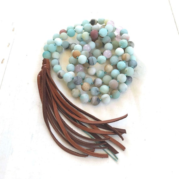 Leather Tassel Mala Beads, Amazonite Mala Necklace, 108 Bead Mala, Boho Chic Mala Beads, Yoga Mantra Mala, Hand Knotted Mala Beads