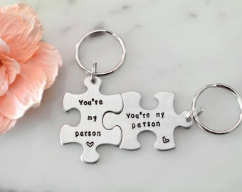 Grey's Anatomy Inspired 'You're My Person' Keychain Set on Puzzle Piece Blanks - Custom, Hand Stamped, Personalized, Birthday Gift/Present