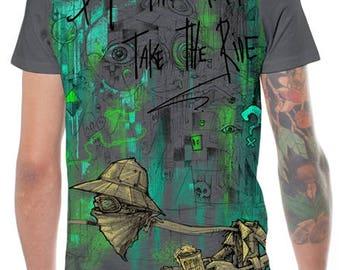 Boho Men's T-shirt,Tribal Top,Festival Men T Shirt,Funky Silk Print,Burning Man Clothing,Psychedelic Festival Clothing,Goa Psy Trance Shirt