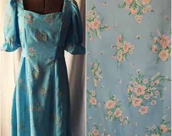 Vintage '60s Light Blue Floral Maxi Dress, Prom Bridesmaid, Ruffled, Puffy Sleeves, Pink Flower Print, Medium Large