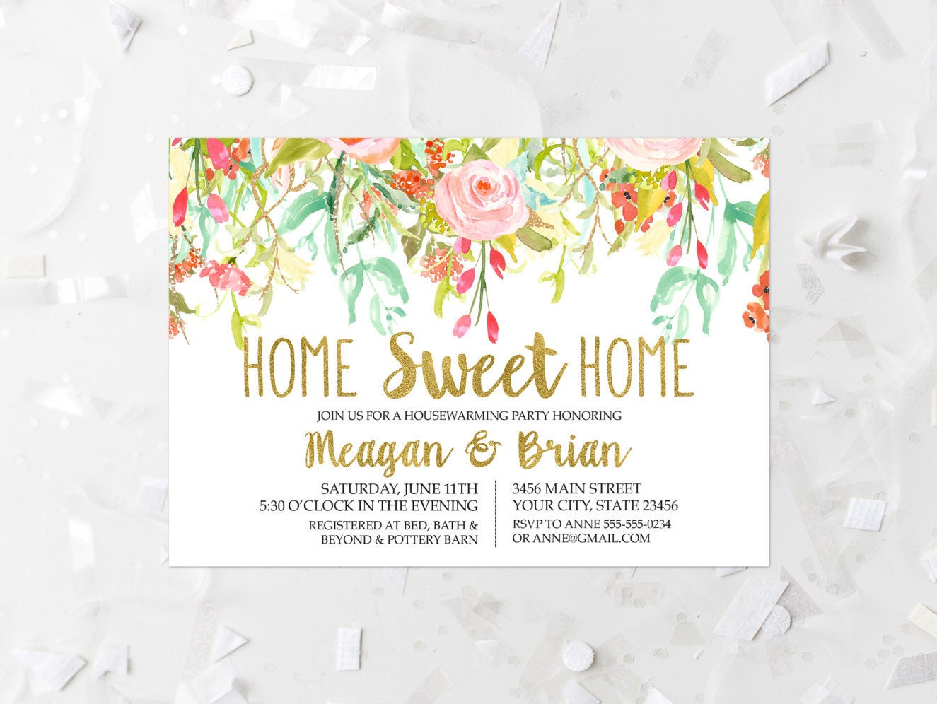 floral housewarming party invitation printable spring floral. Black Bedroom Furniture Sets. Home Design Ideas