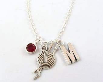 Knitting Necklace- choose a birthstone and initial, Knitting Jewelry, Gift for Knitter, Crochet Necklace, Crochet Jewelry, I love to Knit