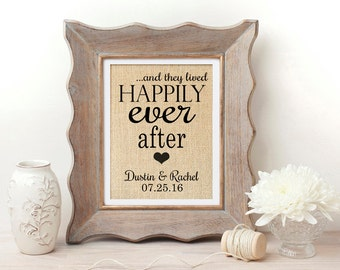 Happily Ever After Sign | Wedding Gift for Couple | Valentines Day Gift | Bridal Shower Gift for Bride | Burlap Wedding Decoration | For Him