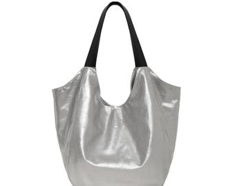 Large Leather hobo Bag, Metallic Large hobo - Leather hobo Large