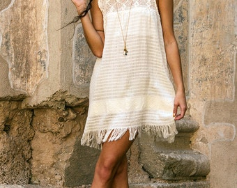 Ixcanul Dress ~ natural écru ~ handloomed & crochet ~ fringed