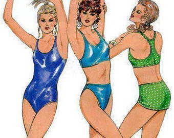 1980s Kwik Sew 1607 Misses One-Piece & Two Piece Racer Back Swimsuit Skirt Vintage Sewing Pattern Size 12 14 16 18