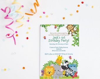 Jungle Birthday ~ Jungle Invitation ~ Birthday Invitation ~ Jungle Party ~ Safari Invitation ~ Monkey Invitation ~ Safari Birthday ~ First