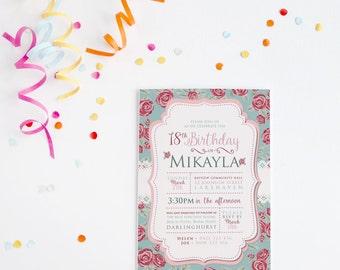 Rose Invitation ~ Floral Invitation ~ Birthday Invitation ~ 18th Birthday ~ Vintage Invitation ~ Lace Invite ~ Garden Party