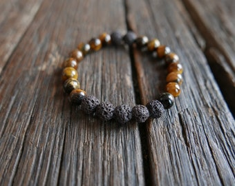 Tiger eyes and lava rocks 8mm - Non-Gender - Mala beads - Clear mind and grounding