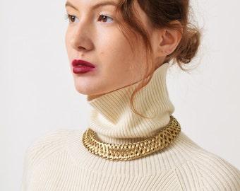 Woven Gold Tone Collar Necklace Vintage Sculptural Necklace Minimalist