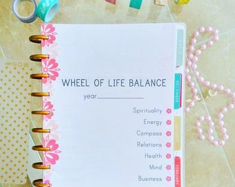 Happy Planner Inserts LIFE BALANCE WHEEL Inserts Pages Personal Development Printable Wheel of Life Balance Made To Fit Erin Condren Planner