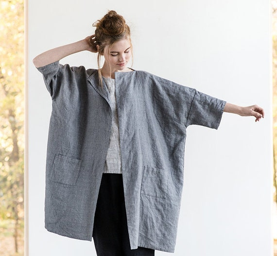 Washed oversized long linen wool blend
