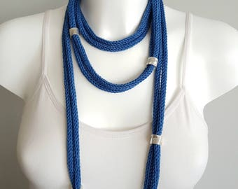 Knit necklaces, cord necklace, long adjustable necklace