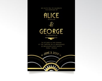 Art Deco Invitation set . 1920s Speakeasy Art Deco Wedding Parlor Black & Gold Silver Great Gatsby Industrial Night Sky . 3 Printed Cards