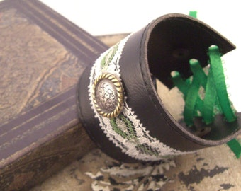Leather Cuff, Green and White Lace, Steampunk Cuff, Gifts for Her, Adjustable Leather Cuff