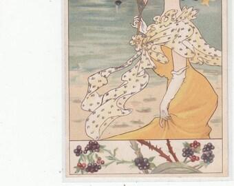 Art Nouveau Woman W Fan Flowers At Seaside, Sailboats,Grape Vine Border,Antique Postcard,Undivided Back