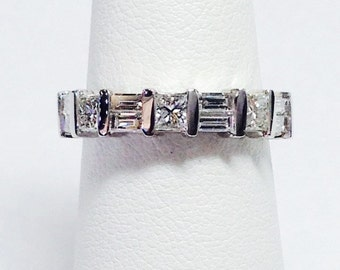 1.00CT Diamond Baguette & Princess Cut Channel Set Wedding Band Anniversary Ring Stackable Bands Platinum 18K 14K White Yellow Rose Gold