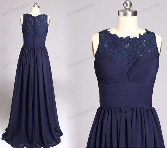 Long lace bridesmaid dresses navy blue lace prom dress a for Custom made wedding dresses nyc