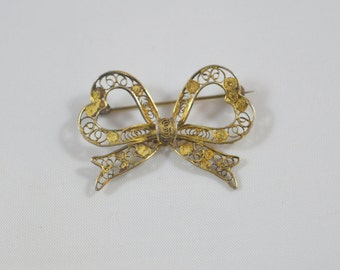 Vintage 800 Silver Bow Pin Brooch Filigree Bow Signed 800 Vintage Silver Jewelry Fine Pin Brooch