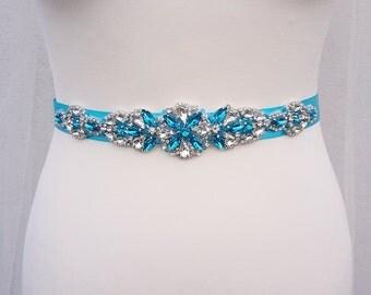 Turquoise sash, Turquoise bridal belt, turquoise belt, Aquamarine sash, Turquoise sash belt, aqua bridal sash, bridal belt, blue bridal sash