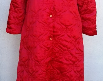 1950's  Quilted Robe Housecoat Rhapsody by Glazier Size Small