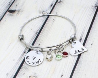 Personalized Date Bracelet - Anniversary Date Bracelet - Anniversary Gift for Wife - Hand Stamped Date Bangle Bracelet - Gift for Girlfriend
