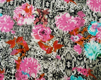 "Designer Fabric, Floral Print, White Cotton Fabric, Home Decor, Dress Material, Sewing Fabric 42"" Inch Cotton Fabric By The Yard ZBC7214A"