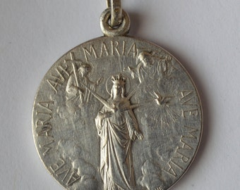 The three Privileges of Mary Immaculate Medal by Lozane -  French Religious Blessed Mother Medal - Foresight, Power, Mercy Step Back Satan