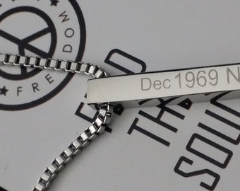 Mens Ladies Personalised Engravable 30mm Stainless Steel Rectangle Bar Pendant Necklace Gift With Engraved Message, Names, Dates, Initials