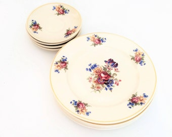 Syracuse china Colonial with Rose and Daffodils, Vintage Restaurant ware Syracuse dishes